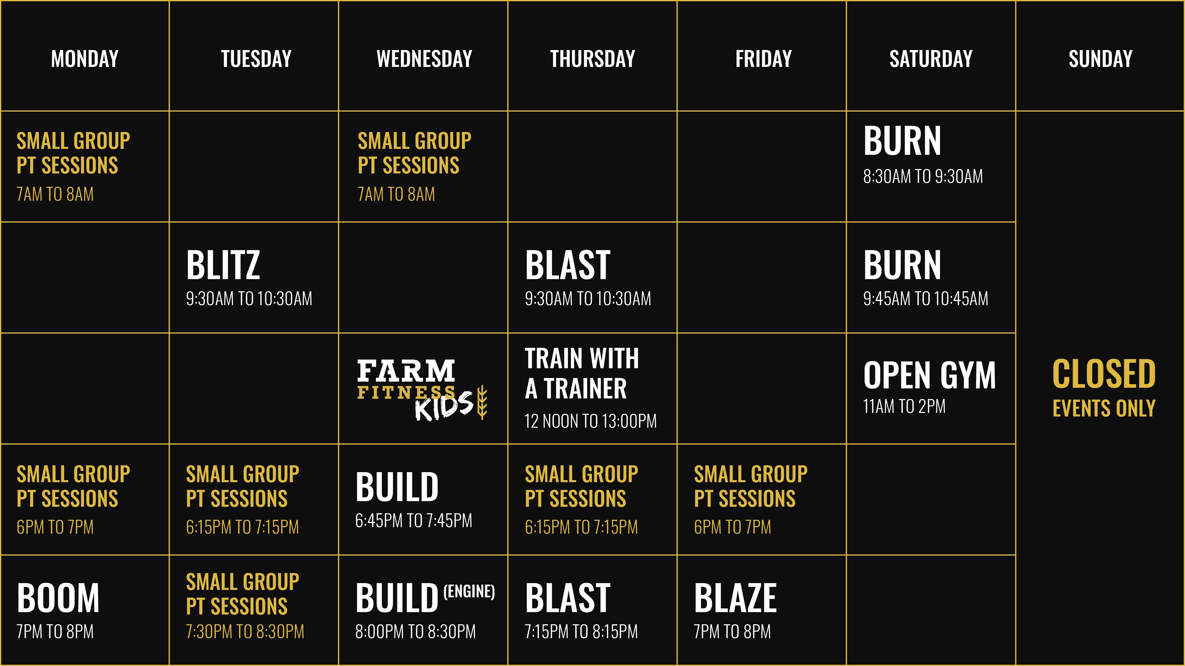 Farm Fitness Timetable
