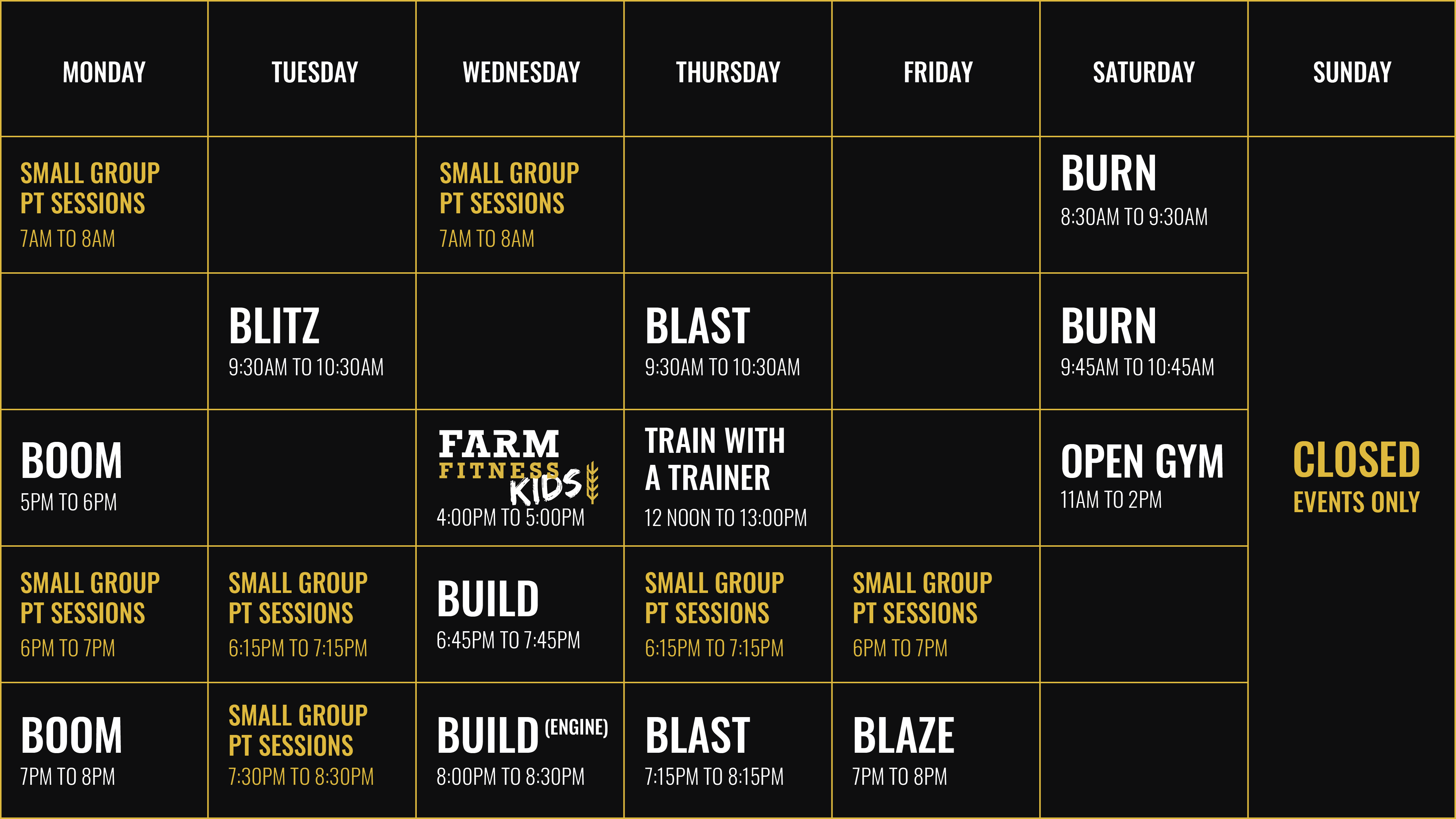 Farm Fitness Timetable